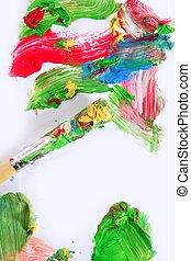 kleurrijke, op, verf , kleuren, papier, borstel, witte