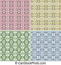 kleurrijke, ouderwetse , -, seamless, verzameling, vector, achtergrond, tegel
