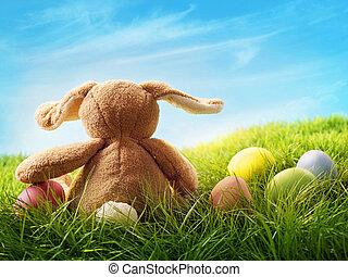 kleurrijke, paaseitjes, en, konijn