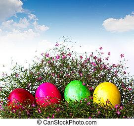 kleurrijke, paaseitjes, op, gras, en, bloem