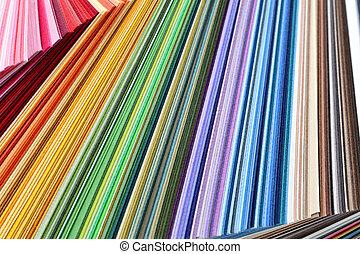 kleurrijke, papier, -, de steekproeven van de kleur