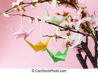 kleurrijke, papier, origami, vogels