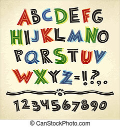 kleurrijke, papier, retro, achtergrond, lettertype, spotprent