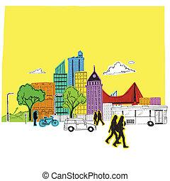 kleurrijke, papier, stad