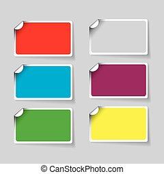 kleurrijke, papier, sticker, vector