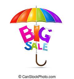 kleurrijke, paraplu, groot, verkoop