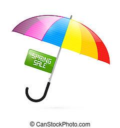 kleurrijke, paraplu, illustratie, met, lente, verkoop, titel