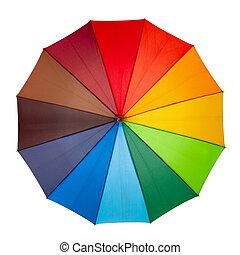 kleurrijke, paraplu, vrijstaand, op, de, witte achtergrond