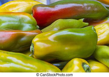 kleurrijke, pepperoni, in, herfst