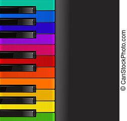 kleurrijke, pianotoetsenbord, op, een, zwarte achtergrond