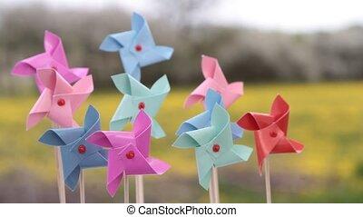 kleurrijke, pinwheels, speelbal