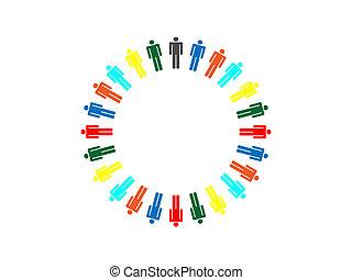 kleurrijke, planeet, zakelijk, verbinding