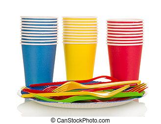 kleurrijke, plastische koppen, en, vorken, vrijstaand, op...