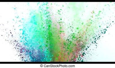 kleurrijke, poeder, het exploderen, op wit, achtergrond, in, fantastisch, vertragen, motion.