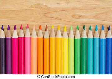 kleurrijke, potlood crayon, opleiding, achtergrond