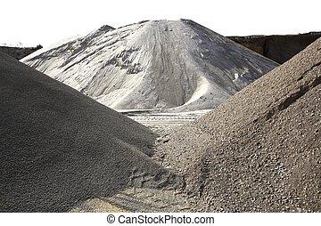 kleurrijke, prooi, variëteit, zand, bouwsector, heuvel