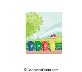 kleurrijke, recycl bakken, landscape, ecologie, concept
