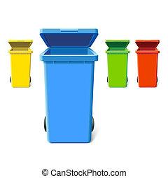 kleurrijke, recycling, bakken