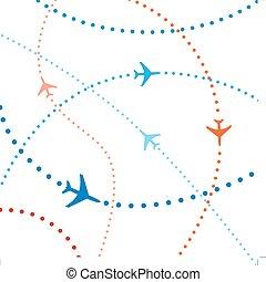 kleurrijke, reizen, lucht, vluchten, verkeer, luchtroute,...