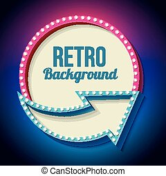 kleurrijke, retro, meldingsbord, met, lichten