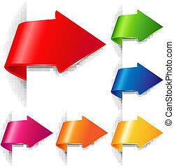 kleurrijke, richtingwijzer, set