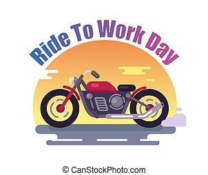kleurrijke, rijden, werken, fiets, spandoek, dag, rood