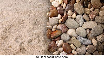 kleurrijke, rivier, stenen, op, zand