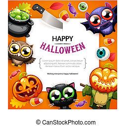 kleurrijke, ruimte, halloween, achtergrond, kopie, vrolijke