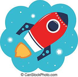 kleurrijke, ruimte, vrijstaand, spotprent, raket, witte