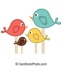 kleurrijke, schattig, spotprent, vogels, set