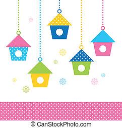 kleurrijke, (, schattig, vogel, set, vector, huisen, ), lente