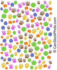 kleurrijke, seamless, dieren, voetafdruk
