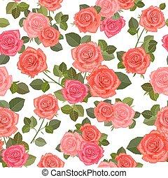 kleurrijke, seamless, textuur, met, boeketten, van, rozen