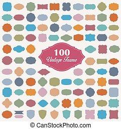 kleurrijke, set, leeg, frame, ouderwetse , honderd