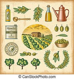 kleurrijke, set, oogsten, ouderwetse , olive