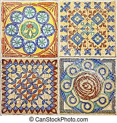 kleurrijke, set, van, decoratief, tegels