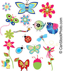kleurrijke, set, van, lente, illustraties