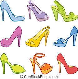 kleurrijke, shoes.