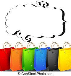 kleurrijke, shoppen , bags.