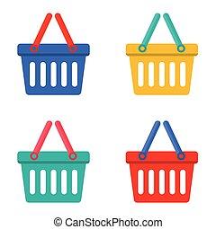 kleurrijke, shoppen , basket.