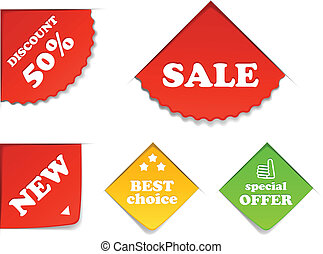 kleurrijke, shoppen , etiketten, verzameling