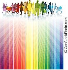 kleurrijke, shoppen