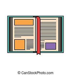 kleurrijke, silhouette, beeld, opengeslagen boek, met, bladwijzer