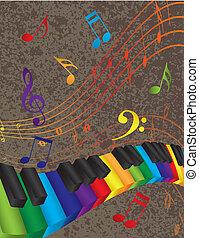 kleurrijke, sleutels, aantekening, golvend, muziek, piano, grens, 3d