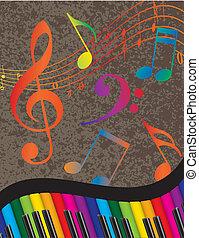 kleurrijke, sleutels, aantekening, golvend, muziek, piano, grens