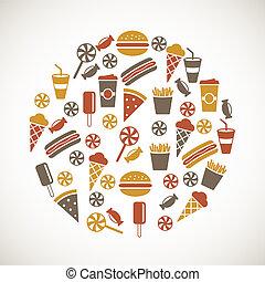kleurrijke, snack, iconen