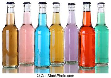 kleurrijke, soda, dranken, met, cola, in, flessen