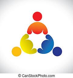 kleurrijke, spelend, concepten, gemeenschap, spelend, vriendschap, werknemer, vector, kinderen, &, vakbonden, verscheidenheid, vertegenwoordigt, delen, icons(signs)., drietal, geitjes, arbeider, illustratie, graphic-, zoals, concept, enz.