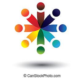 kleurrijke, spelend, vector, cirkel, concept, geitjes, school