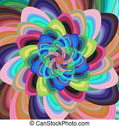 kleurrijke, spiraalvormig ontwerp, achtergrond, floral, fractal